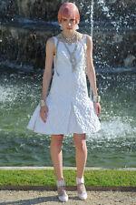 $6445 New CHANEL 13C RUNWAY VERSAILLES white Brocade DRESS 36 40  RARE!