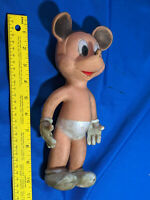 """MICKEY MOUSE VINTAGE 10"""" SQUEEZE SQUEAK TOY VINYL FIGURE by SUN RUBBER CO 1950's"""