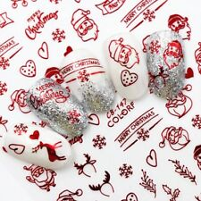 New Fashion 3D Nail Decals Santa Claus Red Back Glue laser Merry Christmas 2020