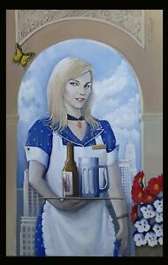 Kamen Chalakov The Waitress Acrylic Painting on Canvas 36x24 Blonde Serving Beer