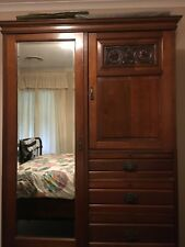 19th Century Victorian Walnut Wardrobe with Bevelled Mirror EXCELLENT CONDITION!