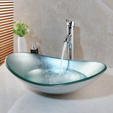 New listing Us Bathroom Oval Vessel Sink Tempered Glass Bowl Single Handle Faucet Mixer Tap
