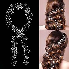 1M Haarkette Hochzeit Perlen Haarschmuck Kette Haarband Braut Diadem Haargesteck