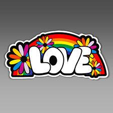 love rainbow hippie hippy flower child vinyl sticker car bumper 138.5 x 66 mm