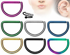 D-Shaped Titanium Ion Plated Annealed 16g Cartilage Tragus Septum Nose Hoop Ring