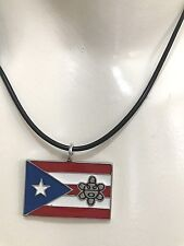 NEW PUERTO RICO PR FLAG with Taino Sun PENDANT NECKLACE Adjustable SOUVENIRS