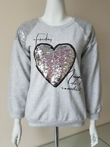 Ladies/Teenagers Cotton Grey Sweatshirt With Sequined Detailing Size S
