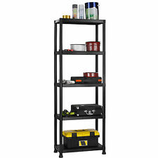 VonHaus 5 Tier Black Plastic Shelving Unit 2 Year and Wall BR