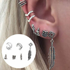 Bohemian Owl Feather Buddha Leaf Geometric Hollow Retro Earrings Jewelry 6Pc/Set