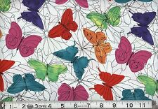 """1 yard Springs """"Multi Butterfly Funky Florals"""" Fabric"""