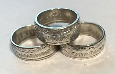 CANADA SILVER COIN RINGS HANDCRAFTED CANADIAN HALF DOLLAR SIZE: 7 TO 14.5 NR!!