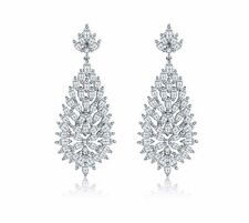 White Gold Plated Cubic Zirconia CZ Wedding Bridal Dangle Drop earrings