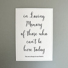 Wedding Memorial Sign - In Loving Memory / Always in our Hearts - Portrait
