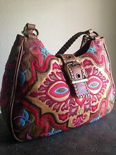 Isabella Fiore Braided Leather Embroidered Handbag