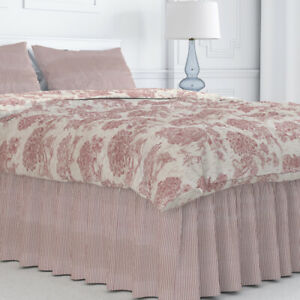 Carolina Linens Gathered Bedskirt in Farmhouse Red Traditional Ticking Stripe