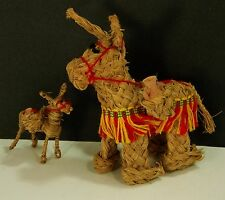 2 Vintage 40s Or 50s Straw Donkey With Clay Jugs And Colorful Strings, Mexico