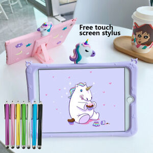 """Cute 3D Unicorn Soft Silicone Stand Case Cover For iPad 2 3 4 9.7"""" 2017 / 2018"""