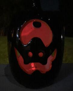 "Halloween Ceramic Pumpkin Jack-O-Lantern Flashing Red Light 5"" Tall Black"