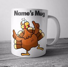 Personalised Mug Cup Christmas Turkey - Christmas Gift Secret Santa  - Any NAME