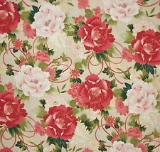 FAT QUARTER RED ROOSTER SERENITY LARGE SCALE PEONY MUMS FQ COTTON BEIGE FABRIC