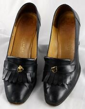 Bruno Magli Black Leather Heels  Horse Accent  Women Size 7B  Italy