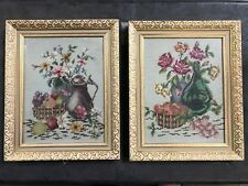VINTAGE NEEDLEPOINT FLORAL PAIR in WHITE & GOLD CARVED FRAME 1930-50's MCM