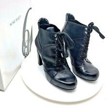 Ladies Nine West Boots Black Leather High Heels Original UK 4  37  US 6 Shoes
