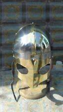 Medieval Viking Mask Helmet Brass Trim Norman Helmet - W/ Liner Costume Armor