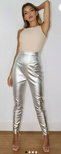 New Missguided Women silver metallic croc high waisted PU trousers Size 10 Fest