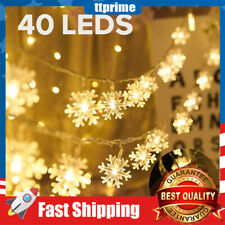 19.6ft 40LED Christmas Lights Snowflake String Light LED String Lights for Xmas