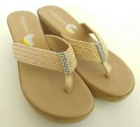 Cristina Francini Womens Size 9 Tan Wedge Slides Rhinestone Thong Sandals Shoes