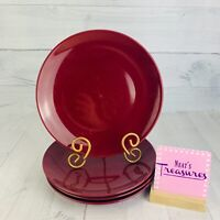 Room Essentials COUPE BING CHERRY Solid Red Plum Stoneware Dinner Plates Set 4