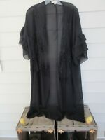 UMGEE Sheer Black Lace Embroidered Kimono Duster Boho Sleeve Long Maxi W/L HNGR