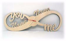 Wand Uhr Unendlichkeitszeichen mit Namen zur Hochzeit Verlobung Jahrestag Liebe
