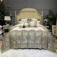 Luxury Champagne Egyptian Cotton Lace Bedding Set Duvet Cover Set Bedspread