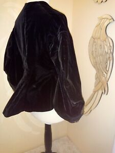 Victorian black velvet jacket dolman sleeves Antique Museum 1860s 1850s