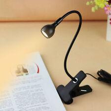 nuovo Lampada da Tavolo Luce Lettura Leggero Flessibile Led USB Clip Clamp IT