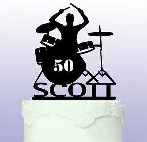 Personalised Drummer Acrylic Cake Topper - Drums