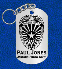 POLICE Officer Keychain Gift, Engraved FREE with NAME & Dept! Cop Law Officer
