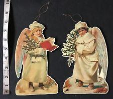 "2 8"" Merrimack Die Cut Double Sided Cardboard Victorian Angel Holiday Ornament"