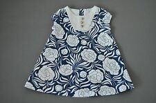 Janie and Jack Blue Ivory Floral Dress Size 3-6 Months