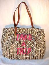 Lucky Brand Tote Bag Ivory White Gray Batik Portland Take A Trip Travel $98