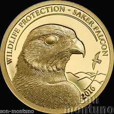 2016 Mongolia - SAKER FALCON Wildlife Protection - 1/2 gram 24K GOLD COIN .9999