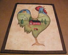 9x11 Rooster Folk art country saltbox barn house cow sheep wall home decor sign