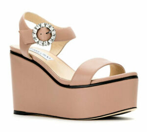 Jimmy Choo Nylah 100 Sandals Dusty Rose Leather Wedge Shoes 35 Pumps Crystal Buc