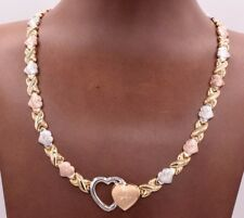 Hearts & Kisses Diamond Cut Necklace 14K Yellow White Rose Gold Clad Silver 925