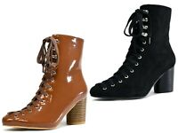 NEW STUNNING LOOK-LACE UP CHUNKY BLOCK HEEL FORMAL BIKER ANKLE LADIES BOOT UK