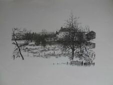 """Tempera- oder Kohlezeichnung von Josef Kuchen """"Landschaft mit Gehöft"""""""