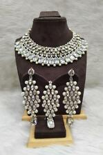 Kundan Pearl Necklace Earrings Tikka Gold Plated Bollywood Bridal Indian Jewelry