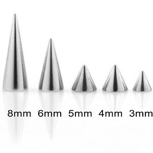 Threaded Spikes Cones 10 Spare Surgical Steel Body Piercing Parts Mix Sizes 16g